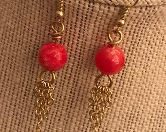 Gold chandelier earrings, pink glass bead