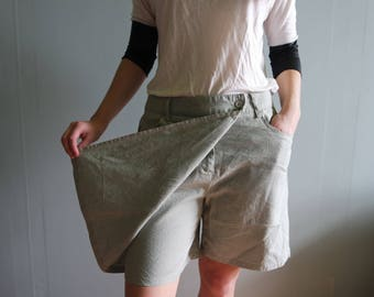 Vintage Skorts Beige Classic Skirt Shorts High Waisted Shorts Bermuda Pants Bicycle shorts Womens skorts Beige Gray Skorts Cotton