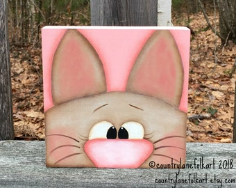 Easter wood decorations, 6 x 6 wood block, bunny rabbit shelf sitter, primitive home decor, hand painted wooden bunny decor, mantle decor