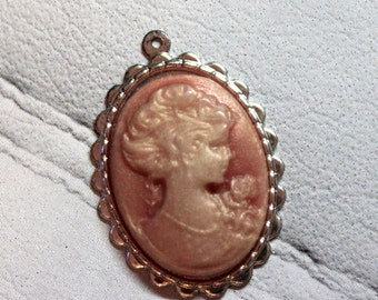 Cameo / Medallion / woman in pink
