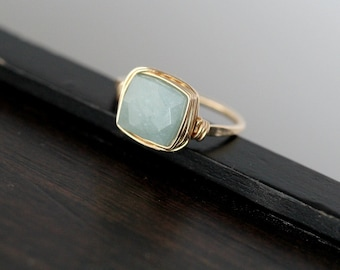 Aquamarine Cocktail Ring , Gold , Rose Gold , Sterling Silver Gemstone Ring March Birthstone Stacking Fashion