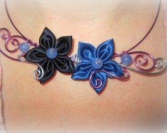 Wedding Flower Necklace Purple Blue