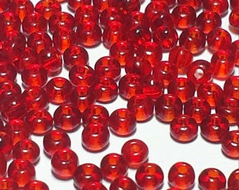 Red Translucent Size 12 Vintage Seed Beads 50 Grams