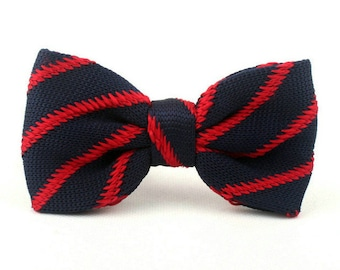 Mens Knitted Bowtie,Bowtie For Party.Navy Bowtie With  Red Stripes.Mens Bowties.