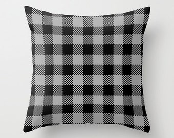 Man Pillow, Gray Lumberjack Pillow Cover, buffalo plaid pillow, grey cabin decor, men rustic decor, fall man cave decor, grey pillow _M