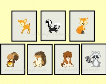 Woodland Nursery Decor, Woodland Animals Printable Wall Art, Deer, Skunk, Fox, Bear, Hedgehog, Squirrel, Raccoon, set of 7