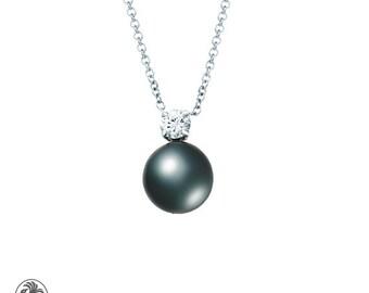 Pearl Pendant, Black Tahitian Pearl, Single Diamond Pearl Necklace, Peacock Pearl Necklace, White Gold Black Pearl pendant | NEC02104