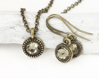 Minimalist Jewelry Antique Brass Necklace and Earring Matching Set with Neutral Grey Taupe Greige Swarovski Crystal Custom Color Tiny Small