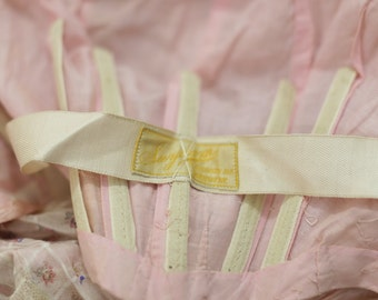 Haute Couture House Antique Dress - SUYDAM Label. Edwardian Dress Set, Floral Pink Printed Cotton Voile Floral FRENCH Pink Ballerina Museum