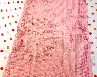 PINK on Pink Chenille Fabric Bedspread piece dots stripes crosshatch 29 x 17.5 Vintage
