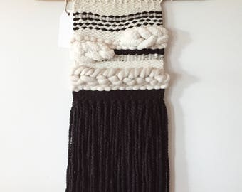 """Woven Wall Hanging, Handmade Tapestry, Mid-Century Modern Decor, Boho Decor, Macrame Wall Hanging, Black and white, """"Midnight"""" Wall hanging"""