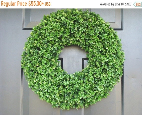 SUMMER WREATH SALE Xl Artificial Boxwood Wedding Wreath, Wedding Decoration, Wedding Decor, Boxwood Wreath, Church Door Decor, Hostess Gift