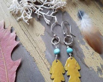 Torch fired enamel leaf earrings