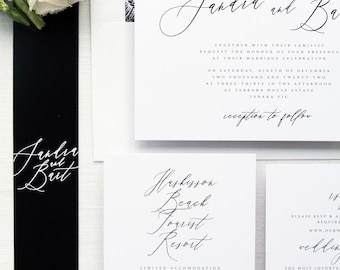 Sandra Black Emerald Calligraphy Wedding Invitation Sets, Minimalist Wedding Invitation Sets, Envelope Liners, Belly Bands Invitations