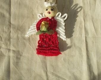 Macrame Angel Ornament,Red