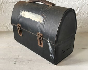 Vintage Black Metal Lunchbox - Factory Worker Style, Industrial, Blue Collar Lunch Box, Retro Hipster