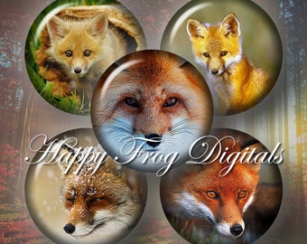 """Cute foxes - 1.5"""", 1"""", 25 mm, 30 mm circles  - digital collage sheet 122 HFD  - Printable Download - Instant Download"""