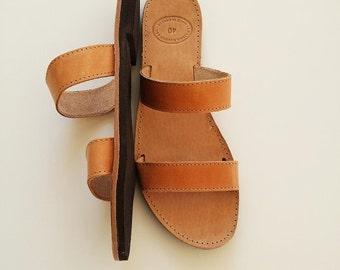 Men  Leather Sandals-Open Toe Greek Brown Leather Sandals - Men Greek Sandals