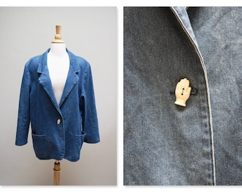 1980s Denim Blazer 80s Jean Blazer Jacket Vintage Blue Boho Jacket