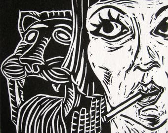 Rebecca Smoking at the Well ~ Linocut Print FREE SHIPPING Sunday School series Art Deco Flapper Babylon Fountain Lion