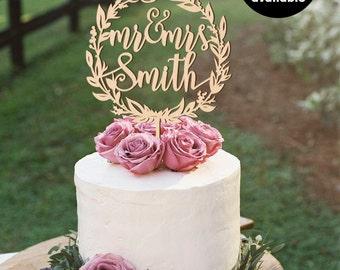 Surname cake topper, Custom Wedding Cake Topper, Personalized Cake Toppers, Mr and Mrs Cake Topper, gold Cake Topper, Glitter, Silver CT-022