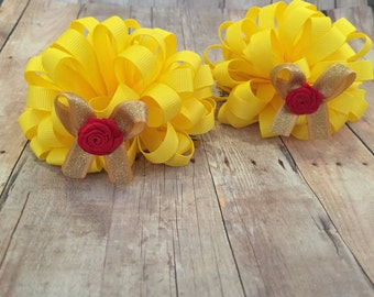 Belle Mouse Ears, Mouse Ears, Princess Mouse Ears, Pom Pom Bows, Loopy Pigtail Bows