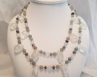 Double Strand Quartz Necklace and Earrings