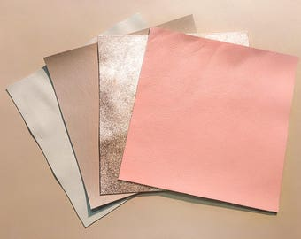 BEIGE and PINK leather scraps Rose gold leather scraps metallic leather pieces 5x5-10x10in pastel leather samples 4pack leather for crafts