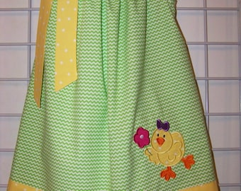 Easter Pillowcase Dress, Easter Dress, Cute Easter Chick Dress, Lime Green Chevron and Yellow and White Polka Dots, Size 2T to 14