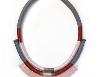 Nico- Handmade wrapped statement necklace