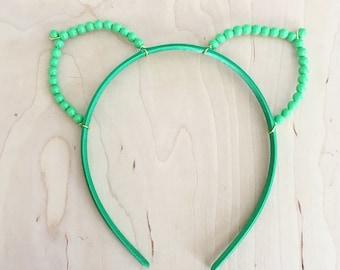 Green Pearl Cat Ears Headband
