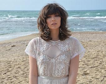 Bohemian lace wedding dress, wedding lace dress, Barzelai wedding dress