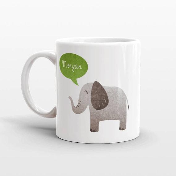 Custom Name Coffee Mug Elephant Gift Idea for Women Men Her Him Mom Dad Adult Kid Elephant Lover Best Friend Birthday Teacher Personalized