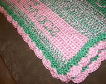 Personalized Baby Blanket Available in Any Color / Crocheted Baby Blanket / Free Shipping