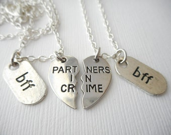 2 Partners in Crime, BFF Necklaces/ Bff jewelry, Friendship Necklace, gift ideas, best friend gift, bff gift
