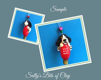 Black and white Basset Hound Christmas Holidays Light Bulb Ornament Sally's Bits of Clay PERSONALIZED FREE with dog's name
