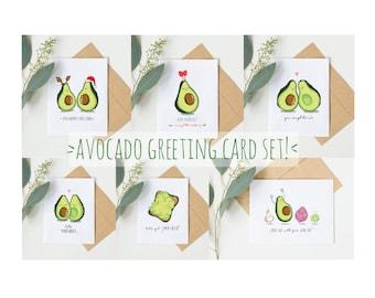 Avocado Greeting Card Set; Set of 6; Funny Birthday Card; Funny Christmas Card; Funny Anniversary Card; Avocado Puns; Avocado Memes