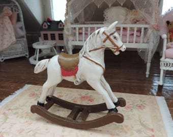 Miniature Rocking Horse by Reutter, Dollhouse Miniature, 1:12 Scale, Hand Painted, Made in Germany, Dollhouse Accessory, Decor, Topper