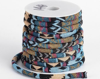 Khaki & Denim Multi Embroidered Tribal Pattern Cloth Rope Cord - By The Foot