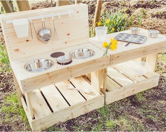My MUD Kitchen & Workbench Duo- Outdoor Wooden Play Kitchen
