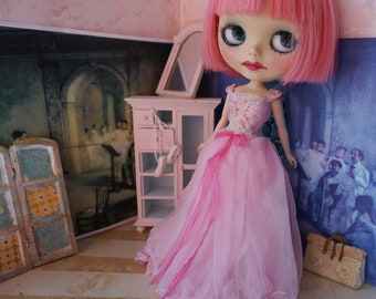 BLYTHE DRESS - Full Length Pretty in Pink Silk and Lace Princess Gown