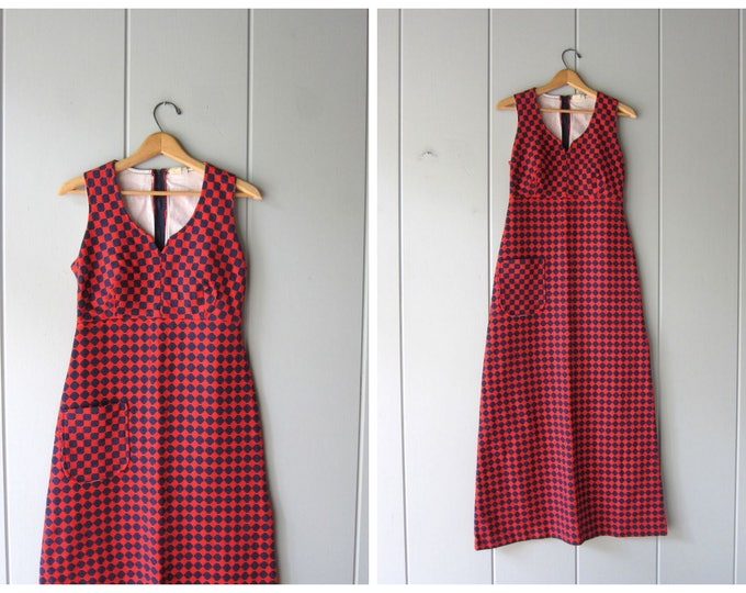 70s Maxi Dress Red Blue Checkered Dress Long Retro Dress 60s Mod Sun Dress Vintage Graphic Hippie Woven Knit Sundress Womens XS Small