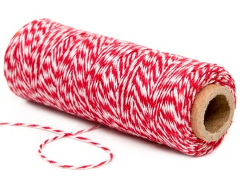 Bakers Twine, 4 Ply Bakers Twine, 100 Yard Spool of Twine, Red Bakers Twine, Valentines Day Favor Cotton Twine, Red Christmas Gift Tag Twine