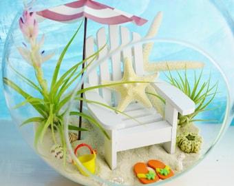 """Beach Terrarium Kit ~  8"""" Air Plant Terrarium Kit ~ Day at the Beach ~ Beach Umbrella Choice ~ Adirondack Chair ~ Coastal Beach Decor ~ Gift"""