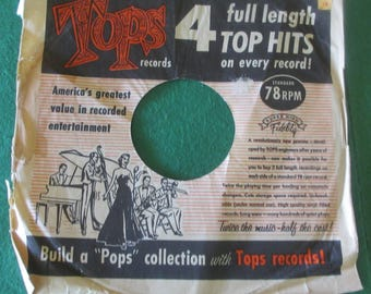 Tops Pops Collection 4 records 4 full length top hits on every record 78 rpm vintage 1950's