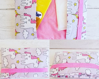 Period Pouch Sanitary Towel Bag CSP Clutch Wallet Purse Teenager Periods Unicorn Pink Birthday Gift Cosmetics Beauty Present