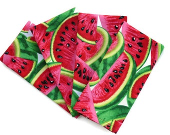 Beau Watermelon Cloth Napkins, Set Of 4 Or 6, Watermelon Kitchen Decor,  Watermelon Napkins, Summer Napkin Fruit, Matching Watermelon Table Linens