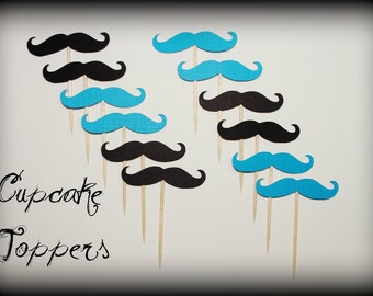 12 Mustache Cupcake Toppers Party Pack-Mustache on a Stick-Little Man Party-Mustache Party-Photo Props-Cupcake Toppers-The Handlebar-