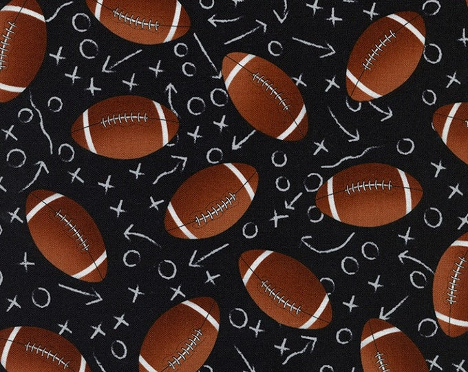 Tossed Footballs  100% cotton fabric, sold by the yard #511