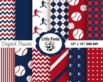 70% OFF SALE Baseball Digital Paper Pack, Digital Scrapbooking Papers, 12 jpg files 12 x 12 - Instant Download - D142